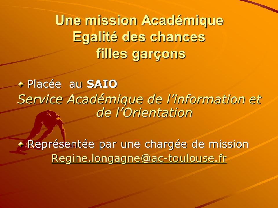 Une mission Académique Egalité des chances filles garçons Placée au SAIO Service Académique de linformation et de lOrientation Représentée par une cha