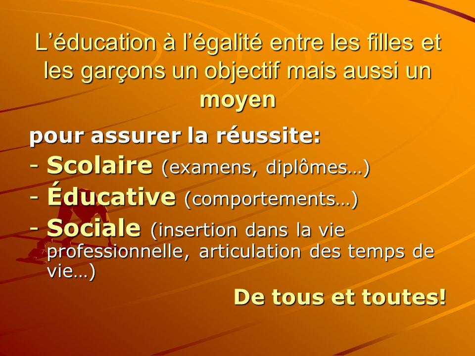 Léducation à légalité entre les filles et les garçons un objectif mais aussi un moyen pour assurer la réussite: -Scolaire (examens, diplômes…) -Éducat