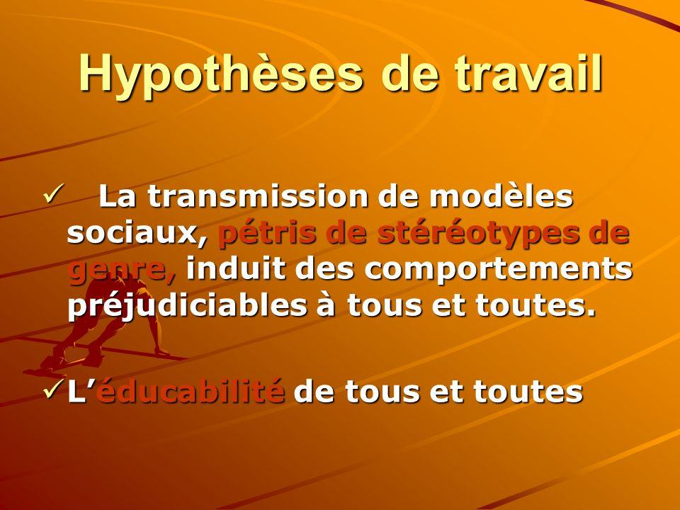 Hypothèses de travail Hypothèses de travail La transmission de modèles sociaux, pétris de stéréotypes de genre, induit des comportements préjudiciables à tous et toutes.