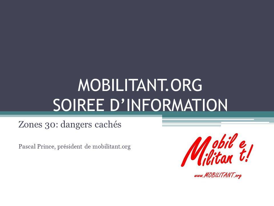 MOBILITANT.ORG SOIREE DINFORMATION Zones 30: dangers cachés Pascal Prince, président de mobilitant.org