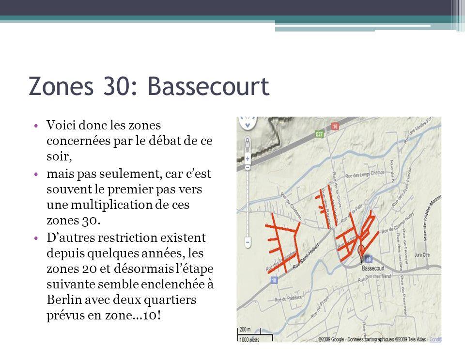 Zones 30: Bassecourt Voici donc les zones concernées par le débat de ce soir, mais pas seulement, car cest souvent le premier pas vers une multiplicat