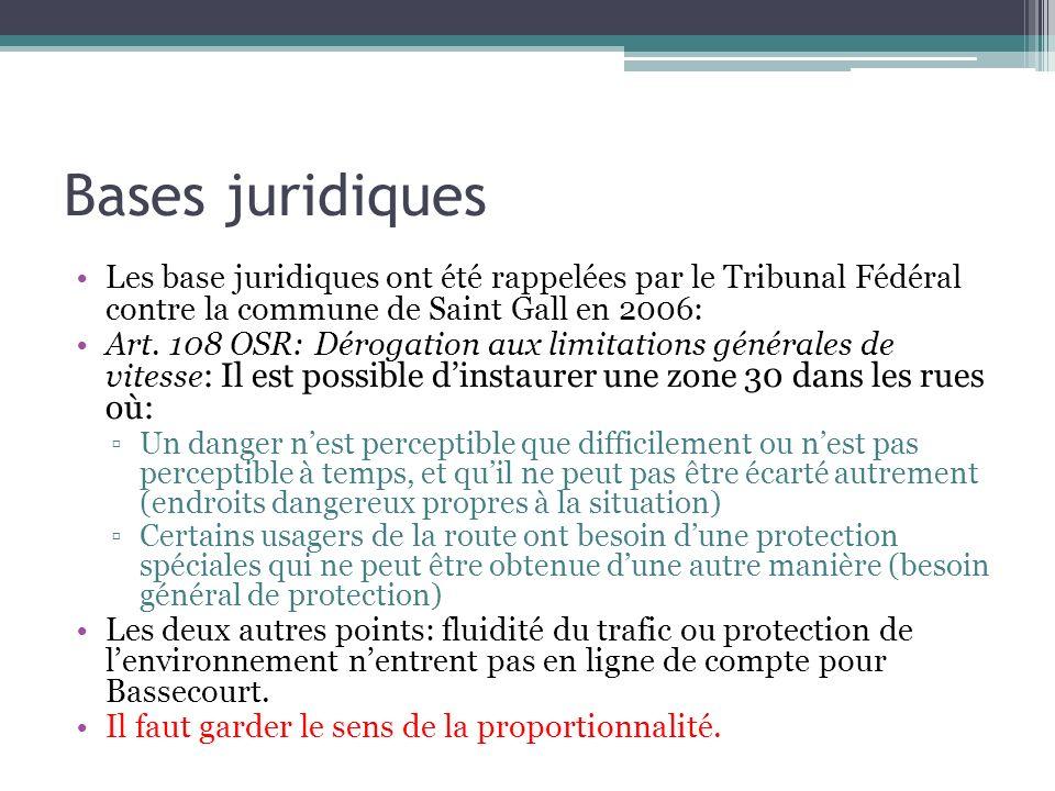 Bases juridiques Les base juridiques ont été rappelées par le Tribunal Fédéral contre la commune de Saint Gall en 2006: Art. 108 OSR: Dérogation aux l