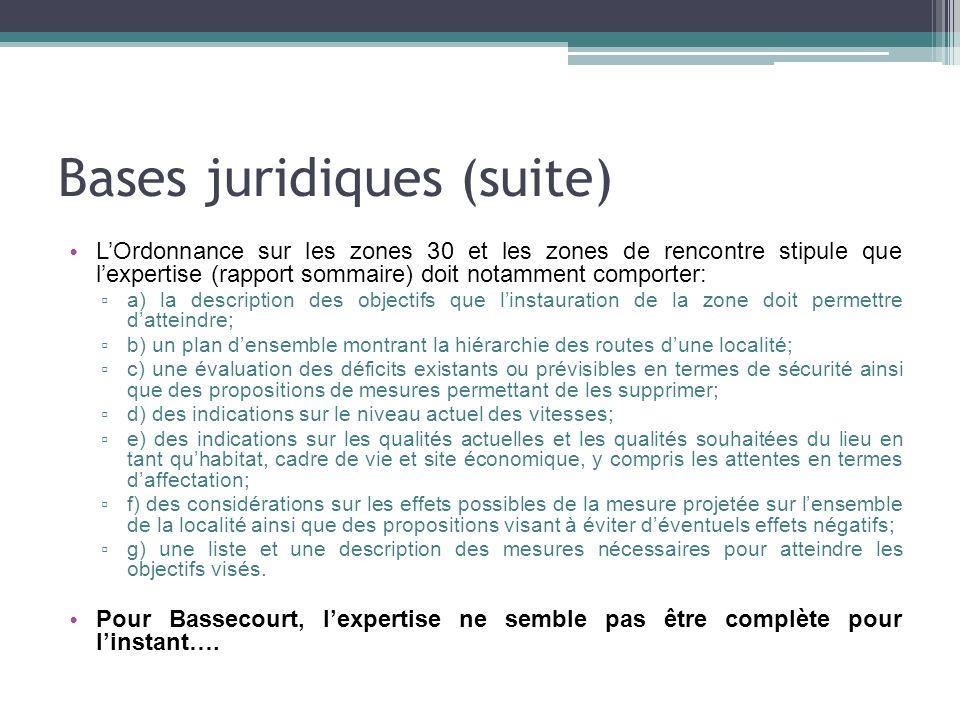 Bases juridiques (suite) LOrdonnance sur les zones 30 et les zones de rencontre stipule que lexpertise (rapport sommaire) doit notamment comporter: a)