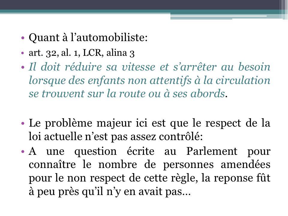 Quant à lautomobiliste: art. 32, al. 1, LCR, alina 3 Il doit réduire sa vitesse et sarrêter au besoin lorsque des enfants non attentifs à la circulati