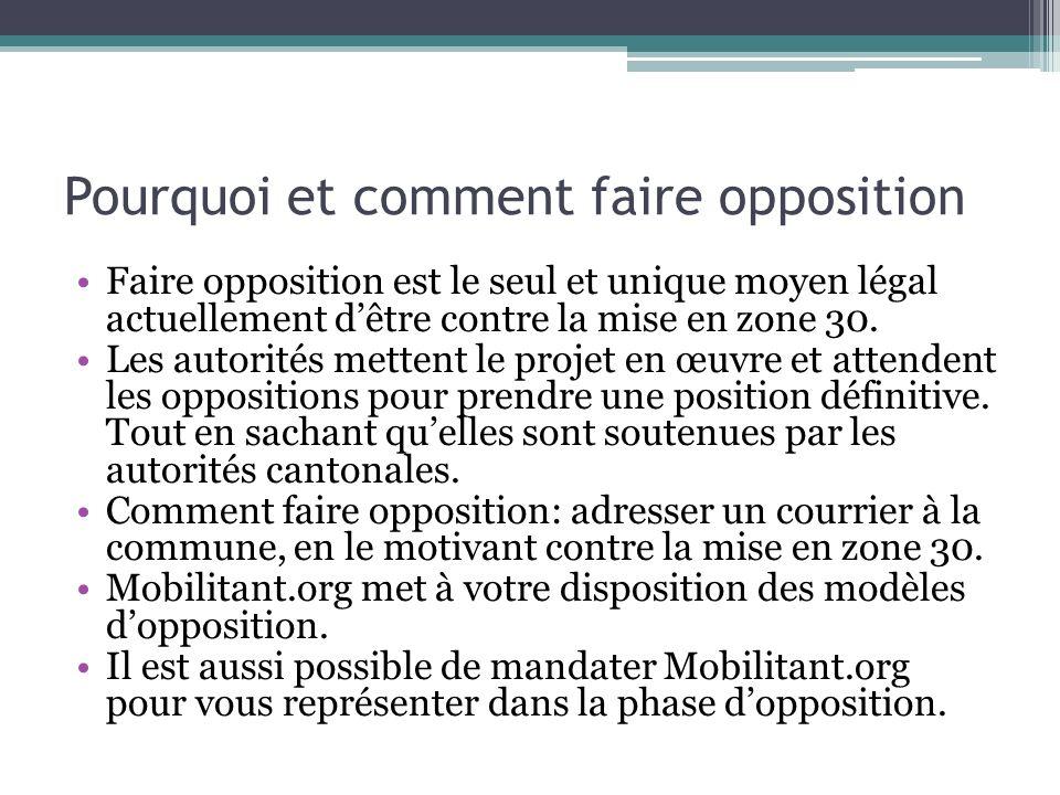 Pourquoi et comment faire opposition Faire opposition est le seul et unique moyen légal actuellement dêtre contre la mise en zone 30. Les autorités me
