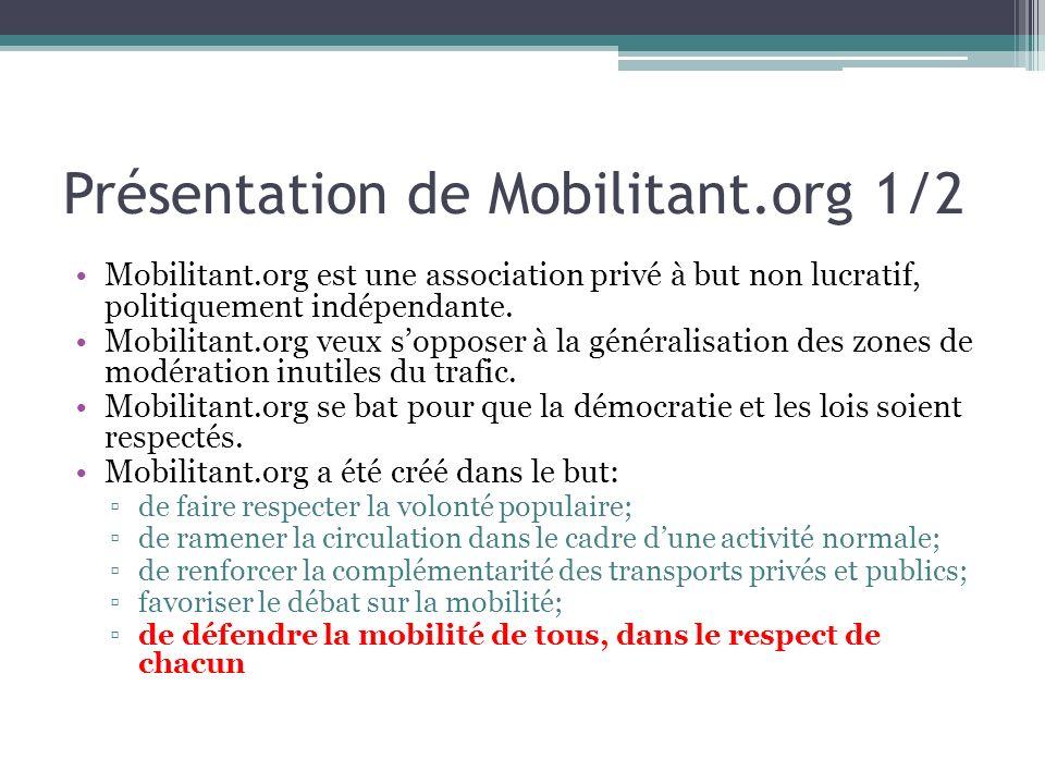 Présentation de Mobilitant.org 1/2 Mobilitant.org est une association privé à but non lucratif, politiquement indépendante. Mobilitant.org veux soppos