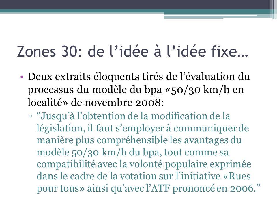 Zones 30: de lidée à lidée fixe… Deux extraits éloquents tirés de lévaluation du processus du modèle du bpa «50/30 km/h en localité» de novembre 2008:
