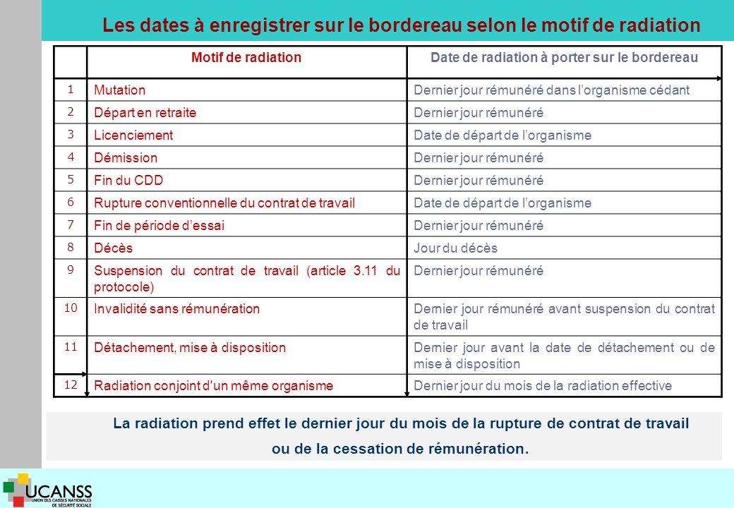Les dates à enregistrer sur le bordereau selon le motif de radiation La radiation prend effet le dernier jour du mois de la rupture de contrat de travail ou de la cessation de rémunération.