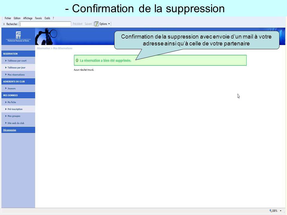 - Confirmation de la suppression Confirmation de la suppression avec envoie dun mail à votre adresse ainsi quà celle de votre partenaire