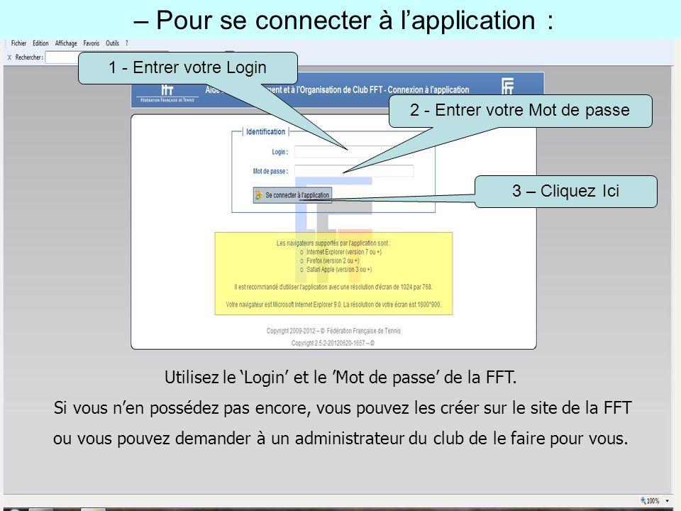 – Pour se connecter à lapplication : 1 - Entrer votre Login 2 - Entrer votre Mot de passe 3 – Cliquez Ici Utilisez le Login et le Mot de passe de la F