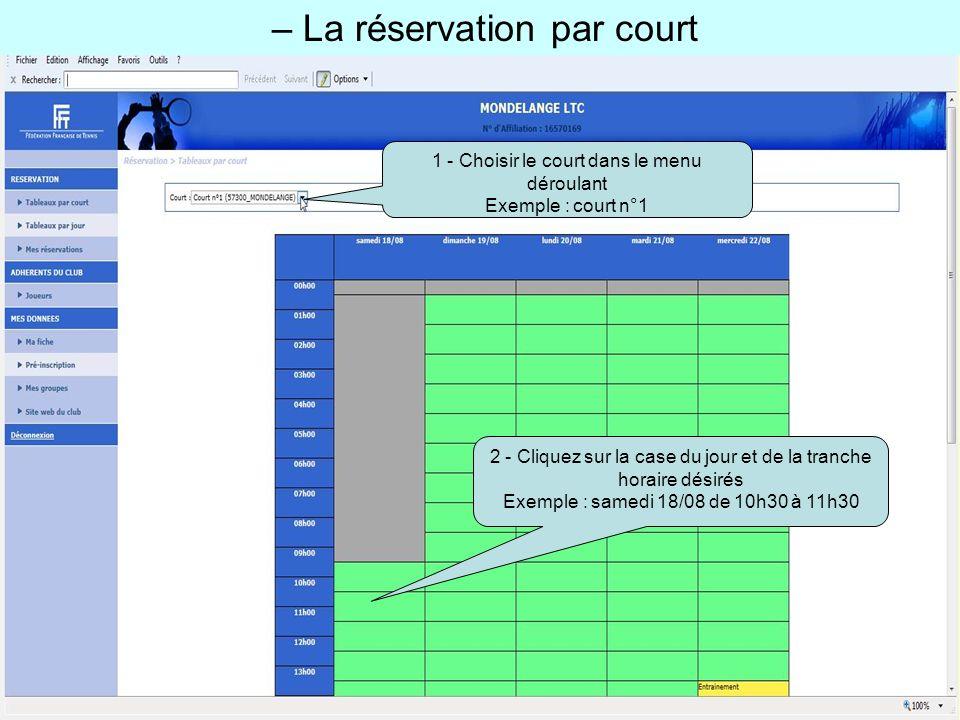 – La réservation par court 1 - Choisir le court dans le menu déroulant Exemple : court n°1 2 - Cliquez sur la case du jour et de la tranche horaire dé