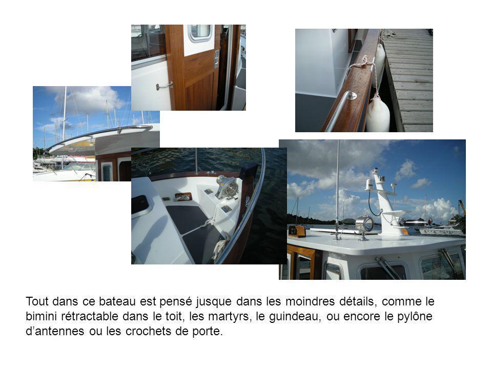 Tout dans ce bateau est pensé jusque dans les moindres détails, comme le bimini rétractable dans le toit, les martyrs, le guindeau, ou encore le pylôn