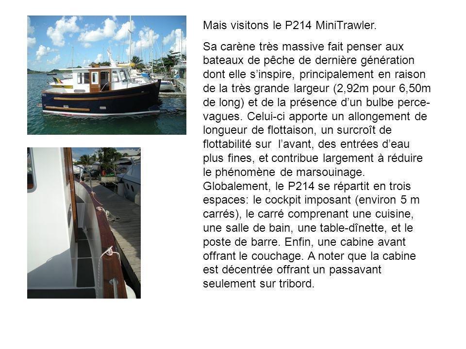 Mais visitons le P214 MiniTrawler. Sa carène très massive fait penser aux bateaux de pêche de dernière génération dont elle sinspire, principalement e