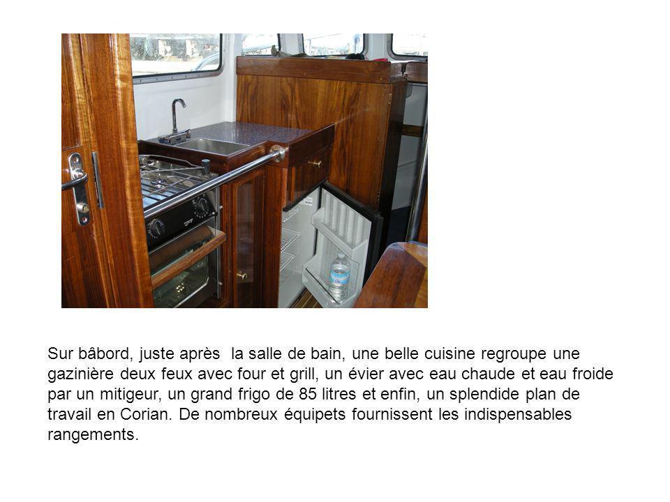 Sur bâbord, juste après la salle de bain, une belle cuisine regroupe une gazinière deux feux avec four et grill, un évier avec eau chaude et eau froid