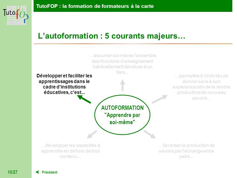 TutoFOP : la formation de formateurs à la carte Précédent TutoFOP : la formation de formateurs à la carte 10/27 Lautoformation : 5 courants majeurs… A