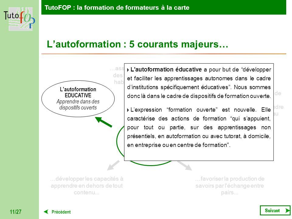 TutoFOP : la formation de formateurs à la carte Précédent TutoFOP : la formation de formateurs à la carte 11/27 AUTOFORMATION