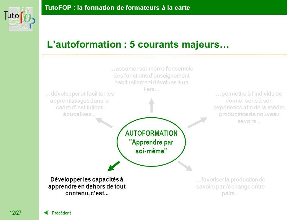 TutoFOP : la formation de formateurs à la carte Précédent TutoFOP : la formation de formateurs à la carte 12/27 Lautoformation : 5 courants majeurs… A
