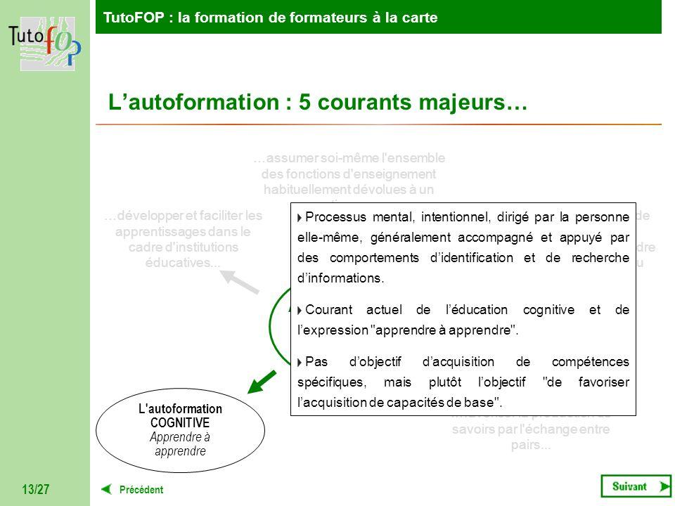 TutoFOP : la formation de formateurs à la carte Précédent TutoFOP : la formation de formateurs à la carte 13/27 AUTOFORMATION