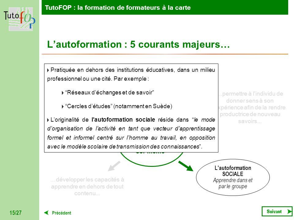 TutoFOP : la formation de formateurs à la carte Précédent TutoFOP : la formation de formateurs à la carte 15/27 AUTOFORMATION