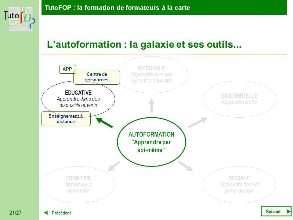 TutoFOP : la formation de formateurs à la carte Précédent TutoFOP : la formation de formateurs à la carte 21/27 Lautoformation : la galaxie et ses out