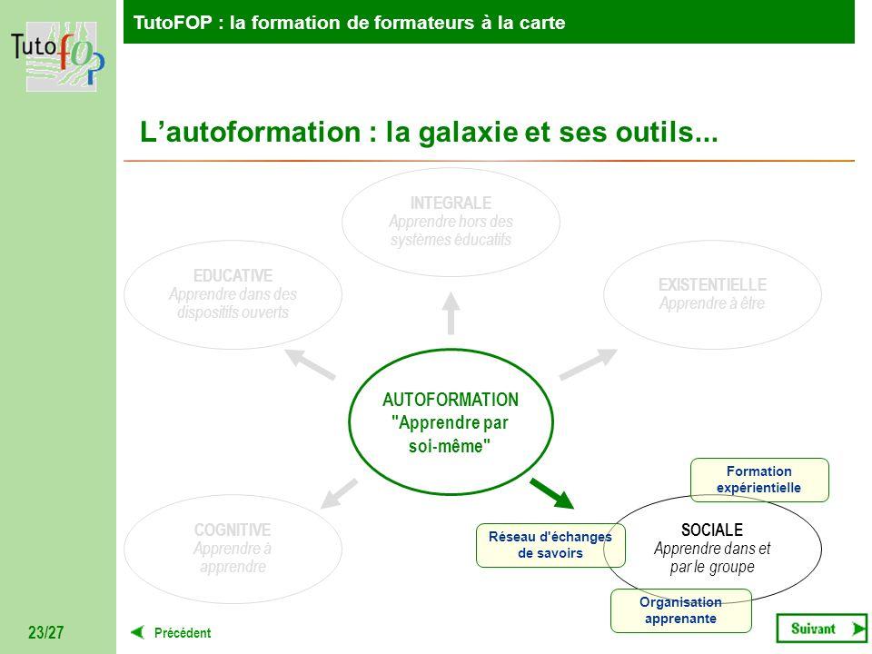 TutoFOP : la formation de formateurs à la carte Précédent TutoFOP : la formation de formateurs à la carte 23/27 Lautoformation : la galaxie et ses out
