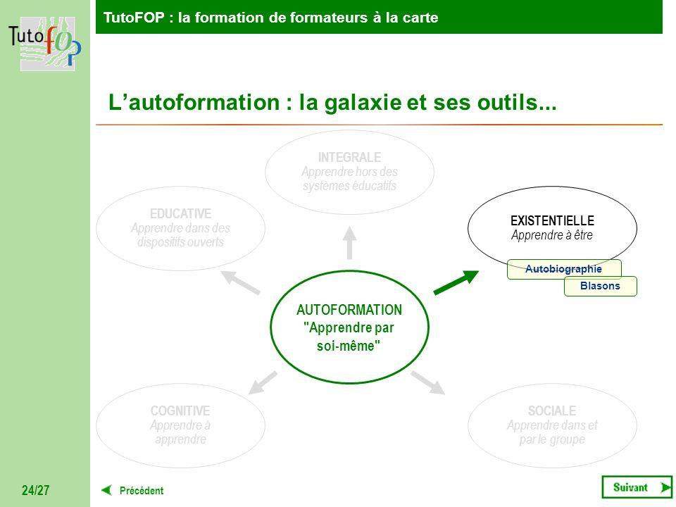 TutoFOP : la formation de formateurs à la carte Précédent TutoFOP : la formation de formateurs à la carte 24/27 Lautoformation : la galaxie et ses out
