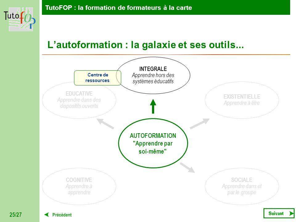 TutoFOP : la formation de formateurs à la carte Précédent TutoFOP : la formation de formateurs à la carte 25/27 Lautoformation : la galaxie et ses out