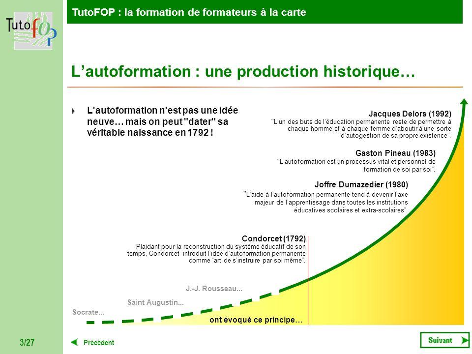 TutoFOP : la formation de formateurs à la carte Précédent TutoFOP : la formation de formateurs à la carte 3/27 Lautoformation : une production histori