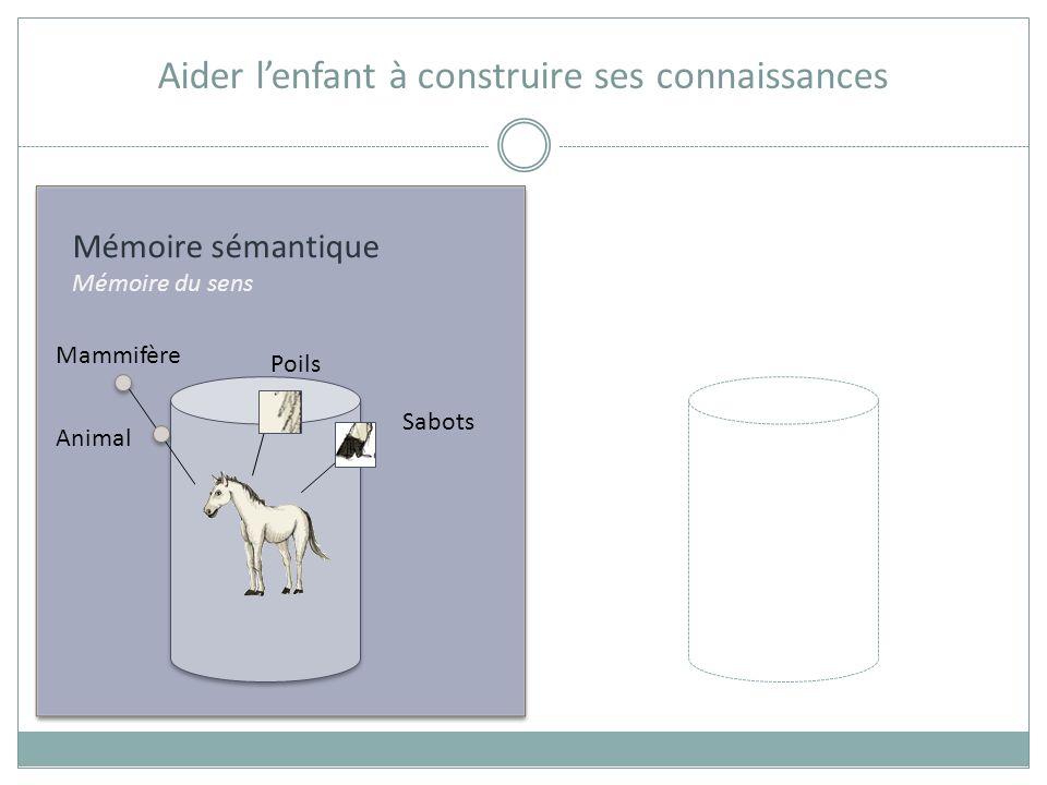 Mémoire sémantique Mémoire du sens Aider lenfant à construire ses connaissances Animal Mammifère