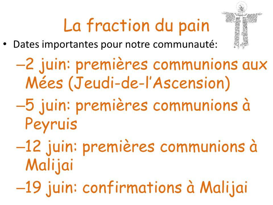 La fraction du pain Dates importantes pour notre communauté: – 2 juin: premières communions aux Mées (Jeudi-de-lAscension) – 5 juin: premières communi