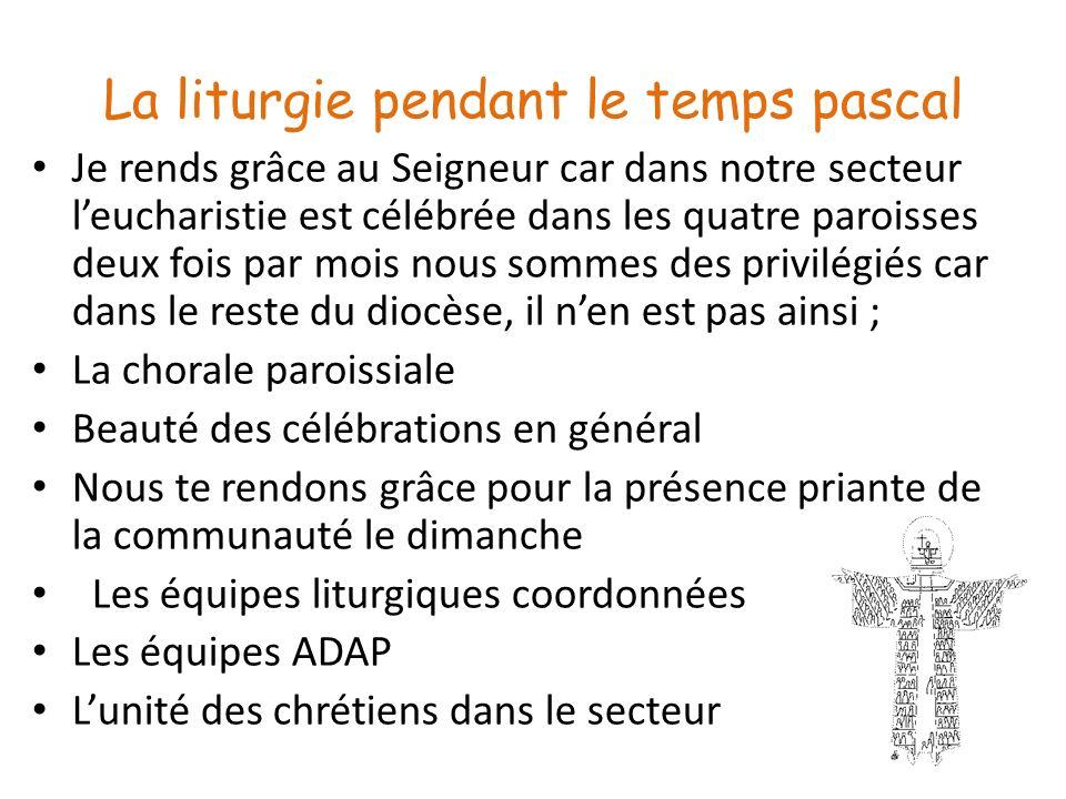 La liturgie pendant le temps pascal Je rends grâce au Seigneur car dans notre secteur leucharistie est célébrée dans les quatre paroisses deux fois pa