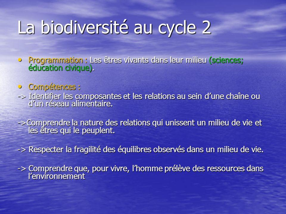 La biodiversité au cycle 2 Programmation : Les êtres vivants dans leur milieu (sciences; éducation civique).