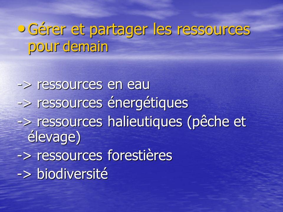 Gérer et partager les ressources pour demain Gérer et partager les ressources pour demain -> ressources en eau -> ressources énergétiques -> ressource