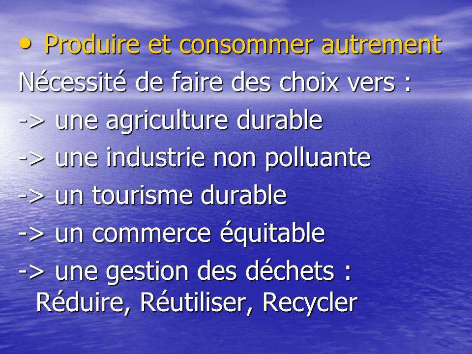 Produire et consommer autrement Produire et consommer autrement Nécessité de faire des choix vers : -> une agriculture durable -> une industrie non polluante -> un tourisme durable -> un commerce équitable -> une gestion des déchets : Réduire, Réutiliser, Recycler