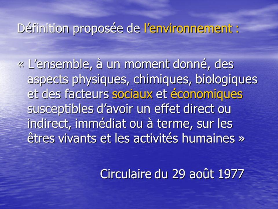 Définition proposée de lenvironnement : « Lensemble, à un moment donné, des aspects physiques, chimiques, biologiques et des facteurs sociaux et écono