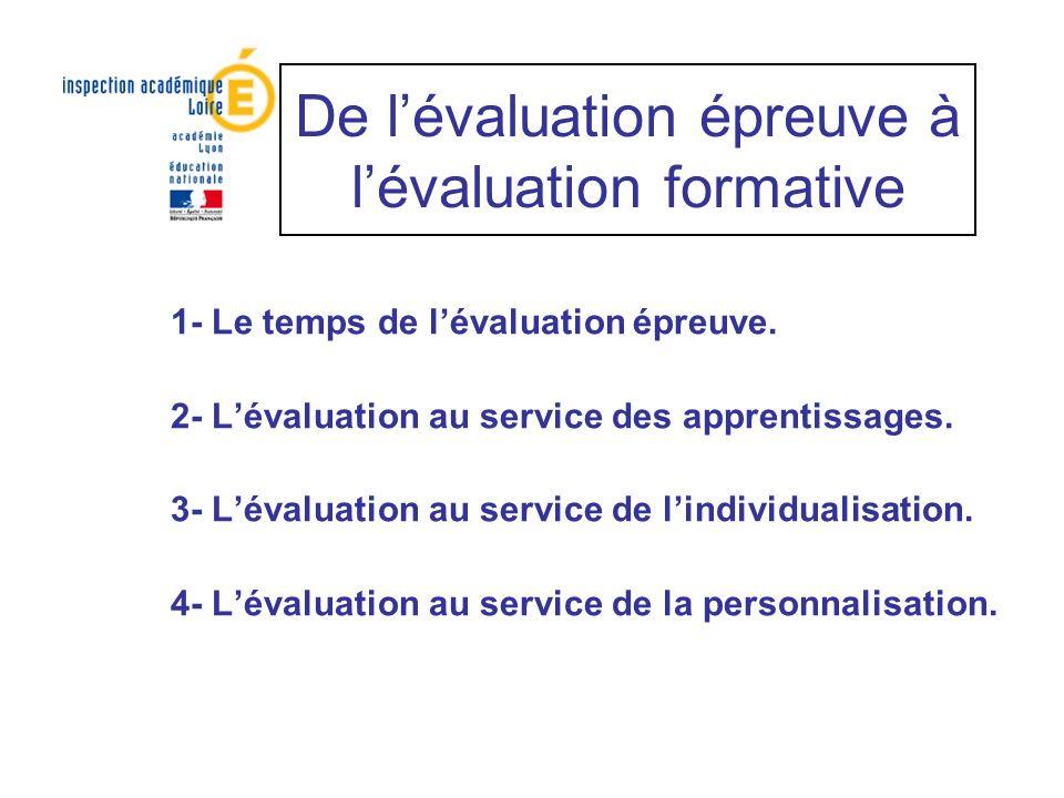 De lévaluation épreuve à lévaluation formative 1- Le temps de lévaluation épreuve. 2- Lévaluation au service des apprentissages. 3- Lévaluation au ser