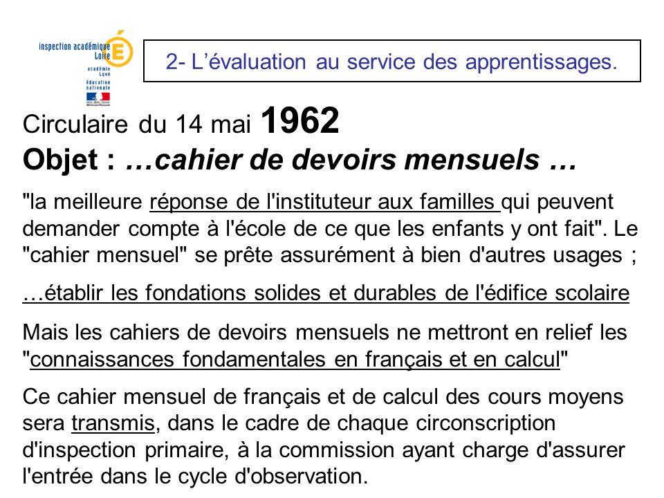 Circulaire du 14 mai 1962 Objet : …cahier de devoirs mensuels …