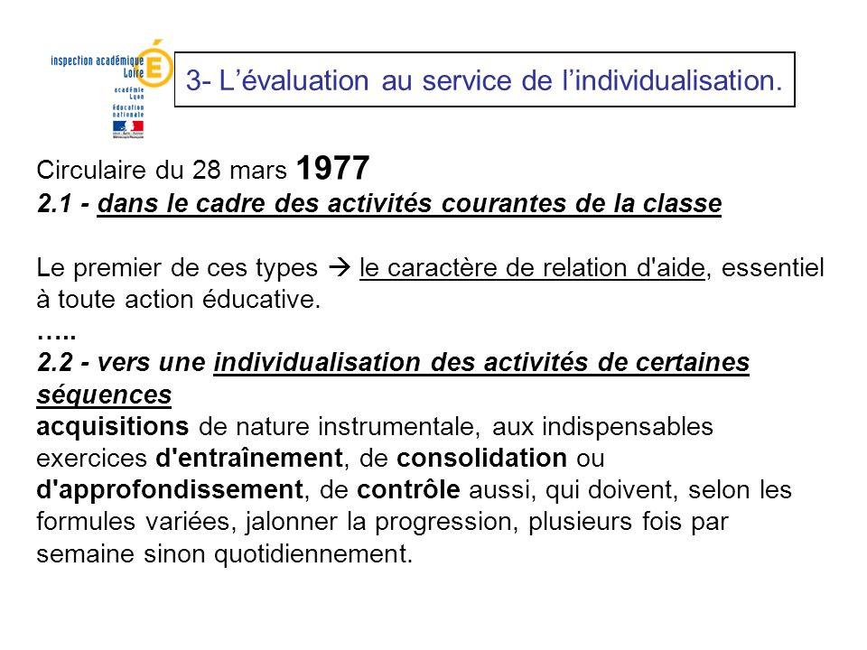 3- Lévaluation au service de lindividualisation. Circulaire du 28 mars 1977 2.1 - dans le cadre des activités courantes de la classe Le premier de ces
