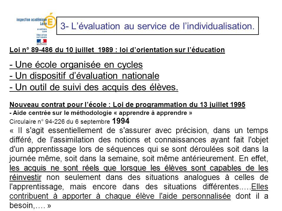 Loi n° 89-486 du 10 juillet 1989 : loi dorientation sur léducation - Une école organisée en cycles - Un dispositif dévaluation nationale - Un outil de