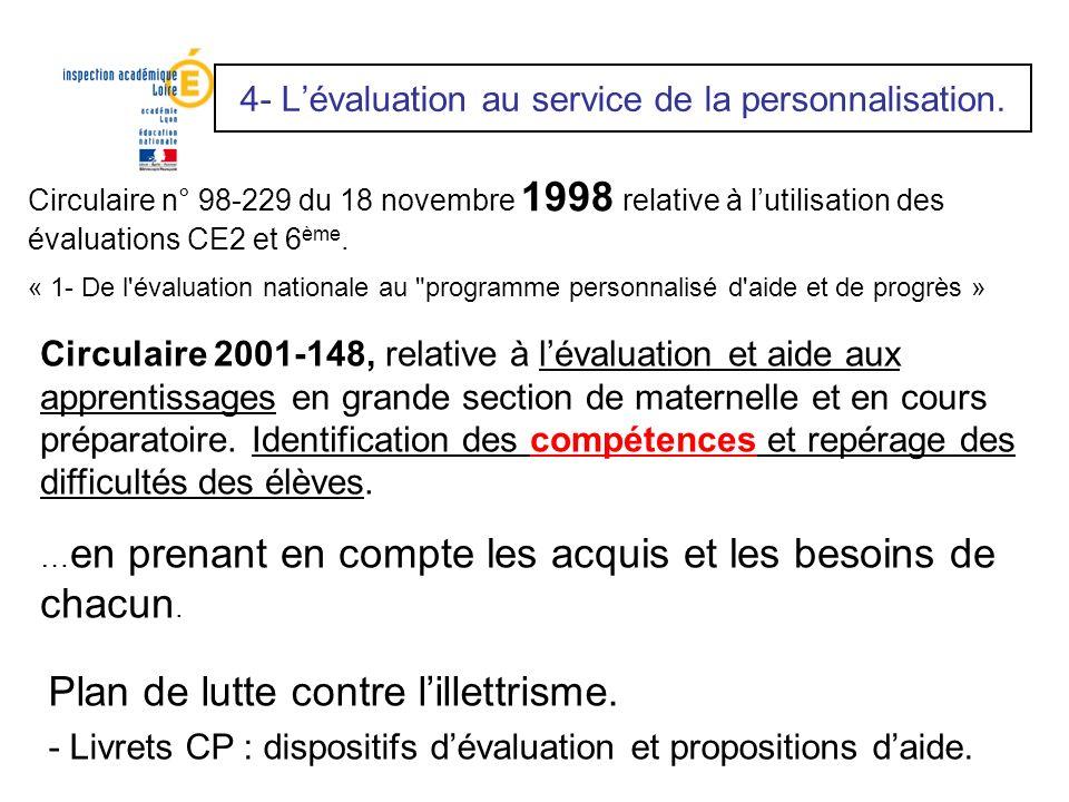 Circulaire n° 98-229 du 18 novembre 1998 relative à lutilisation des évaluations CE2 et 6 ème. « 1- De l'évaluation nationale au