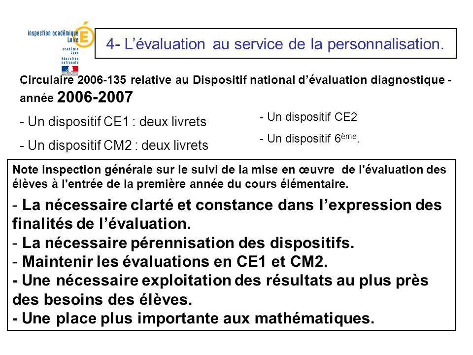 Circulaire 2006-135 relative au Dispositif national dévaluation diagnostique - année 2006-2007 - Un dispositif CE1 : deux livrets - Un dispositif CM2