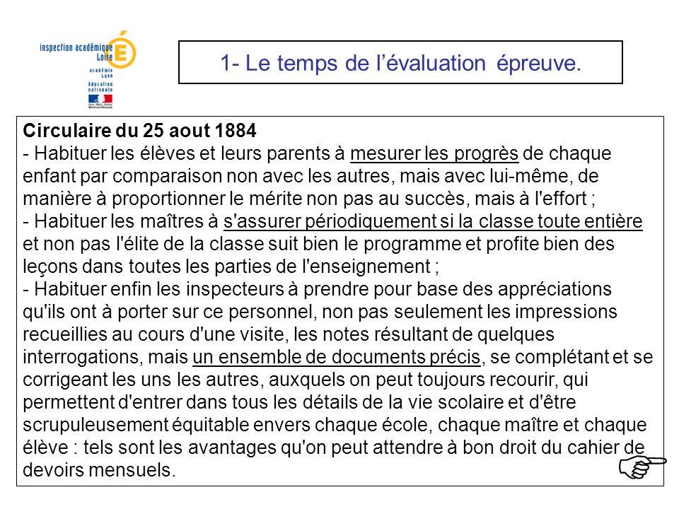 Circulaire du 25 aout 1884 - Habituer les élèves et leurs parents à mesurer les progrès de chaque enfant par comparaison non avec les autres, mais ave