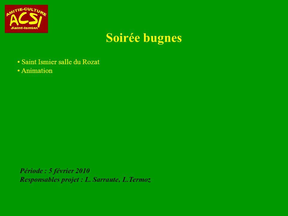Soirée bugnes Saint Ismier salle du Rozat Animation Période : 5 février 2010 Responsables projet : L.