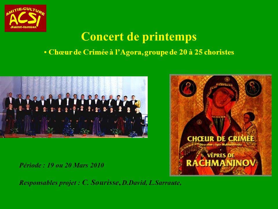 Concert de printemps Période : 19 ou 20 Mars 2010 Responsables projet : C.