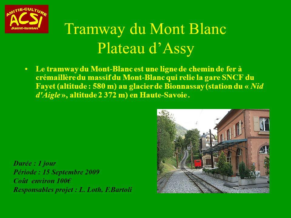 Le tramway du Mont-Blanc est une ligne de chemin de fer à crémaillère du massif du Mont-Blanc qui relie la gare SNCF du Fayet (altitude : 580 m) au glacier de Bionnassay (station du « Nid d Aigle », altitude 2 372 m) en Haute-Savoie.