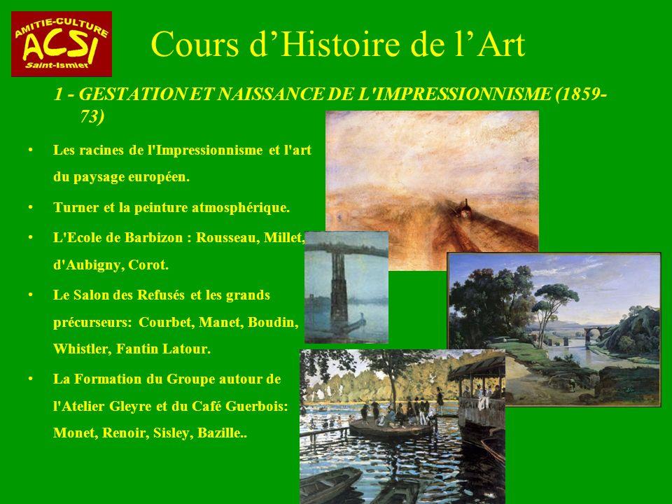 Cours dHistoire de lArt 1 - GESTATION ET NAISSANCE DE L IMPRESSIONNISME (1859- 73) Les racines de l Impressionnisme et l art du paysage européen.