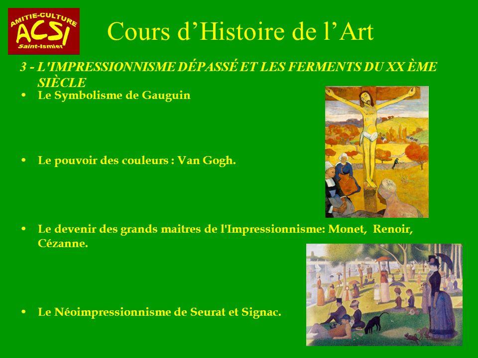 Cours dHistoire de lArt 3 - L IMPRESSIONNISME DÉPASSÉ ET LES FERMENTS DU XX ÈME SIÈCLE Le Symbolisme de Gauguin Le pouvoir des couleurs : Van Gogh.
