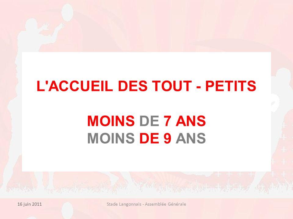 16 juin 2011Stade Langonnais - Assemblée Générale L ACCUEIL DES TOUT - PETITS MOINS DE 7 ANS MOINS DE 9 ANS