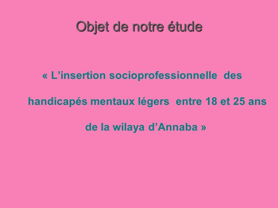 Objet de notre étude « Linsertion socioprofessionnelle des handicapés mentaux légers entre 18 et 25 ans de la wilaya dAnnaba »