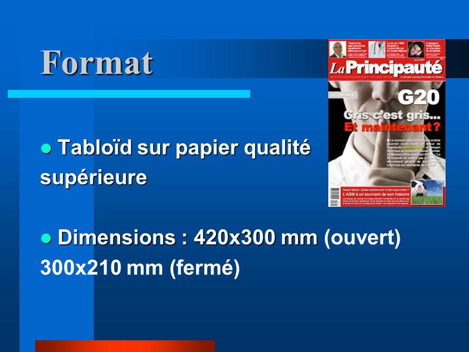 Format Tabloïd sur papier qualité Tabloïd sur papier qualitésupérieure Dimensions : 420x300 mm Dimensions : 420x300 mm (ouvert) 300x210 mm (fermé)